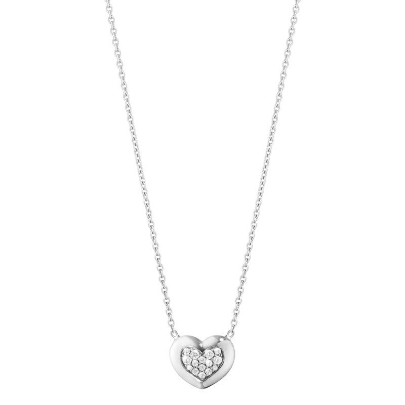 georg jensen 18 carat white gold diamond set heart