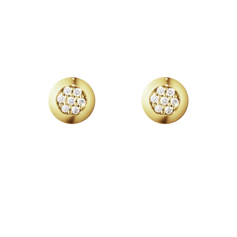 georg jensen aurora 18 carat yellow gold diamond set earstuds