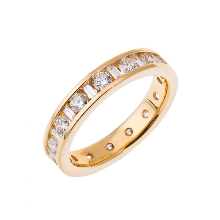 baguette and brilliant cut diamond full eternity ring HH 37_1