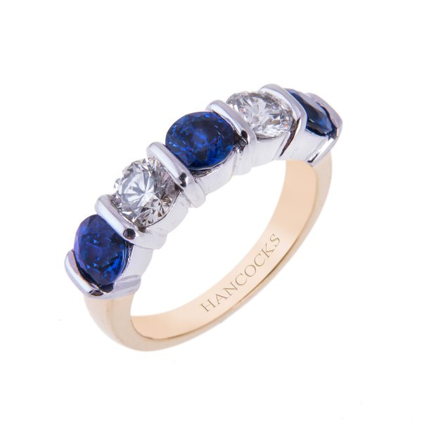 sapphire and brilliant cut diamond bar set 5-stone half eternity ring