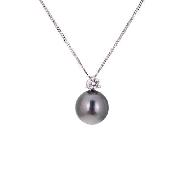 tahitian black pearl and diamond pendant in 18ct gold