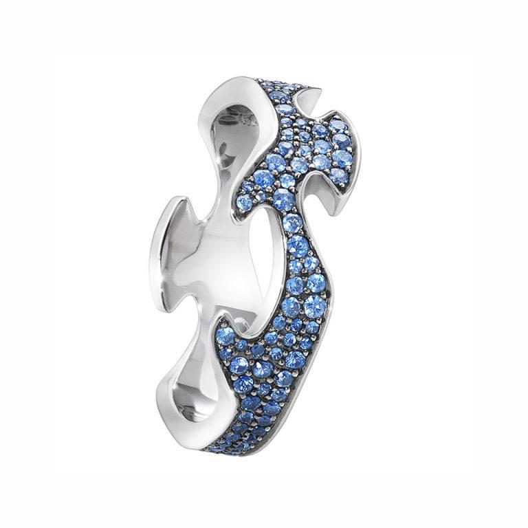 blue sapphire pave set fusion ring