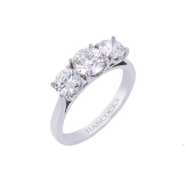 platinum 3-stone diamond ring with brilliant cuts