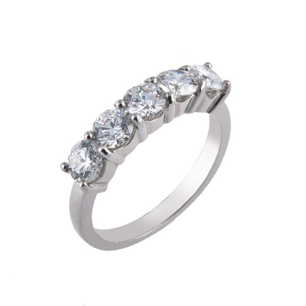 platinum claw set 5 stone diamond eternity ring