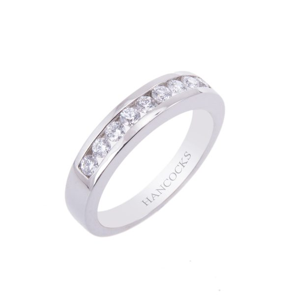 platinum diamond set half eternity ring