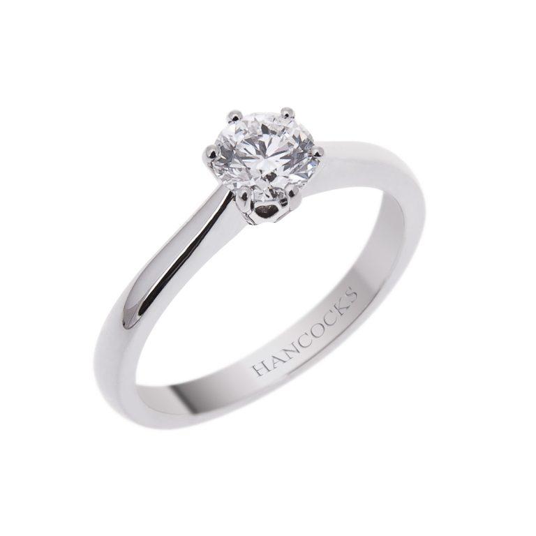 brilliant cut diamond engagement ring in platinum 6 claw setting 2H 8