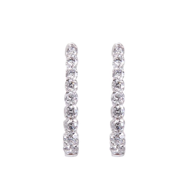 white gold diamond set earrings