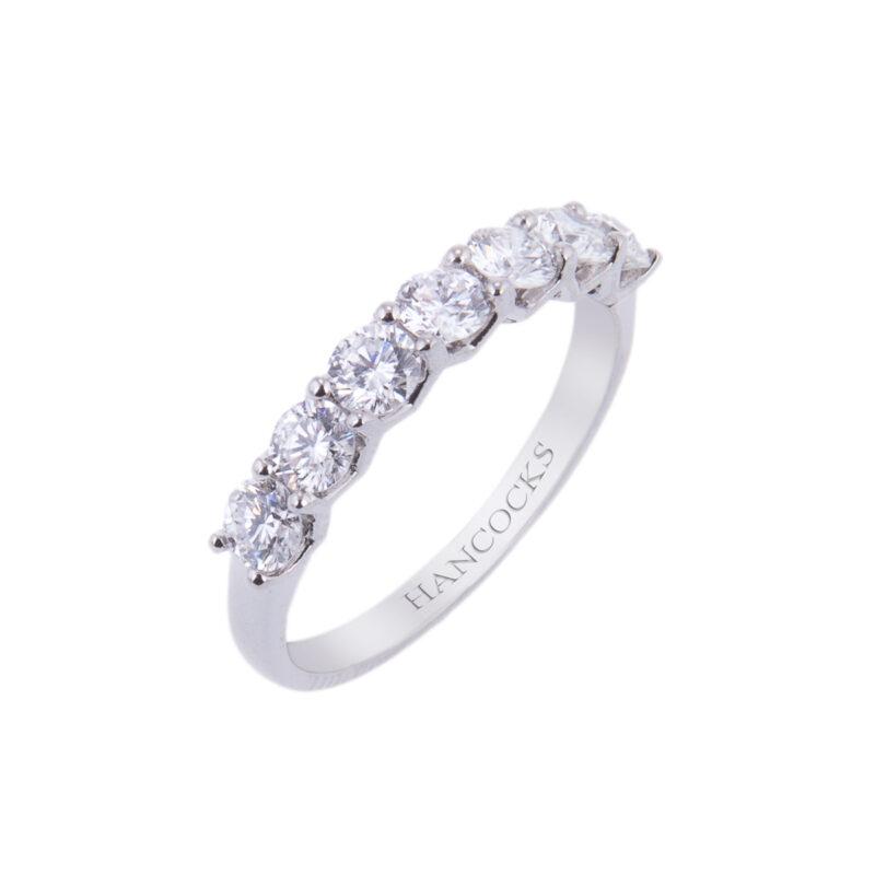 platinum seven stone brilliant cut diamond eternity ring