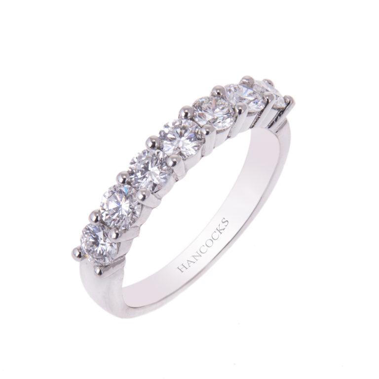 platinum 7-stone brilliant cut diamond half eternity ring