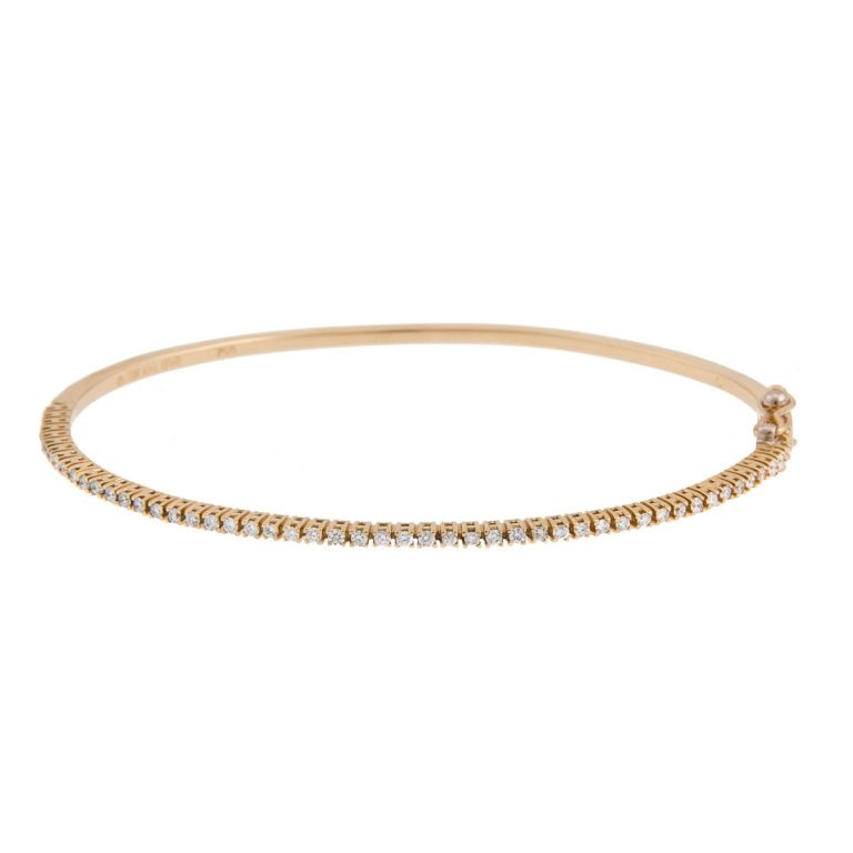 18ct yellow gold brilliant cut diamond set bangle
