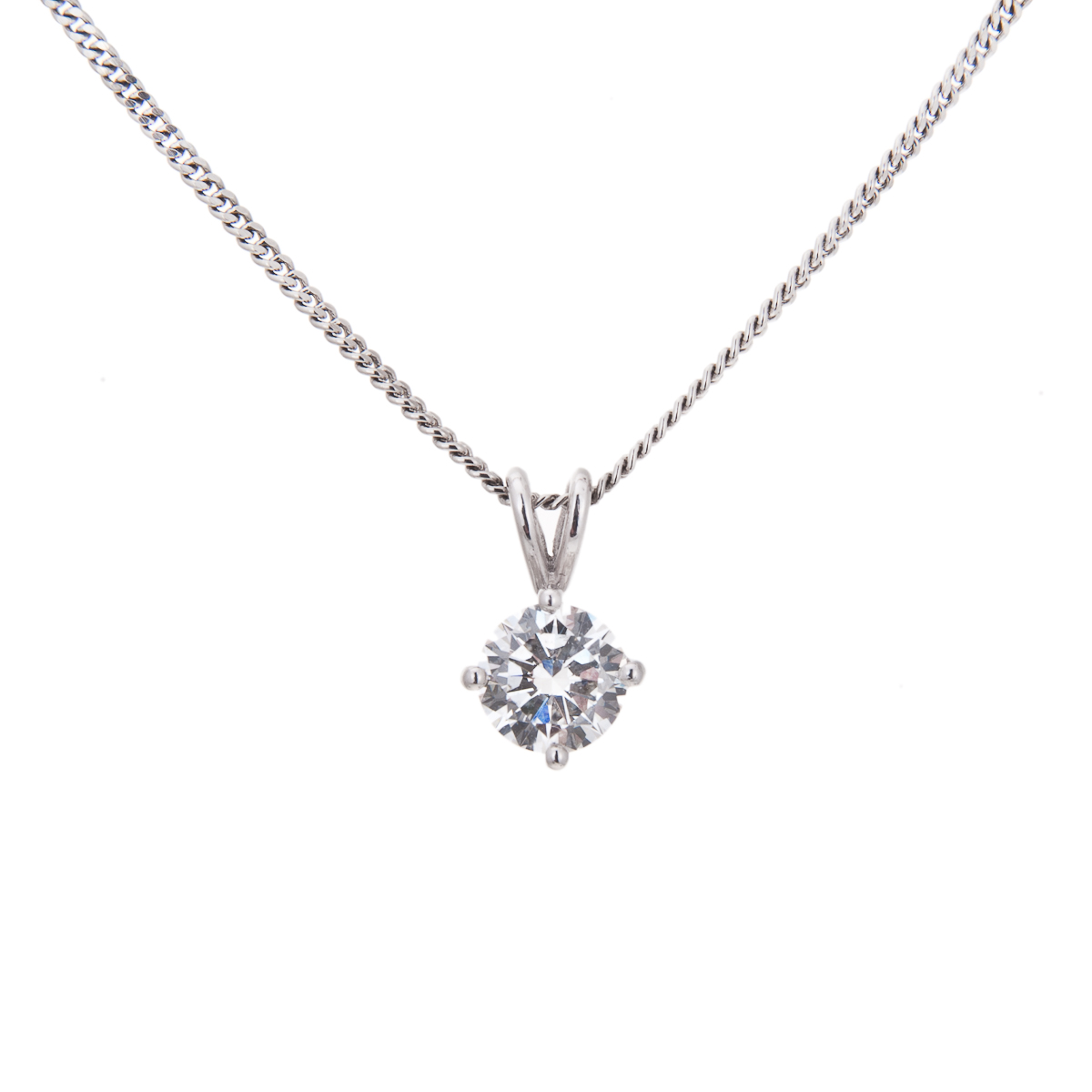 platinum claw set brilliant cut diamond solitaire pendant