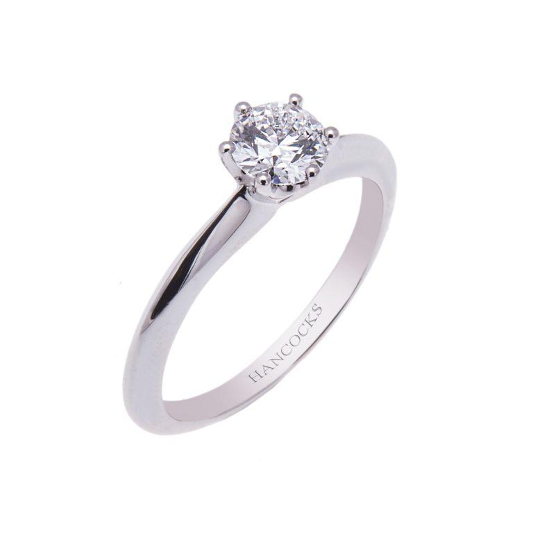 brilliant cut diamond single stone ring in platinum HE 7