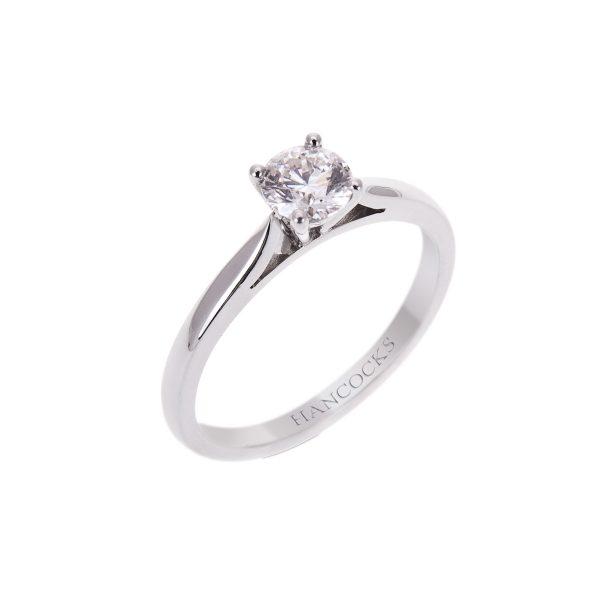 platinum brilliant cut diamond single stone ring