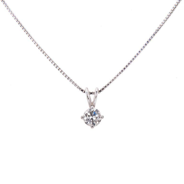 platinum brilliant cut diamond pendant