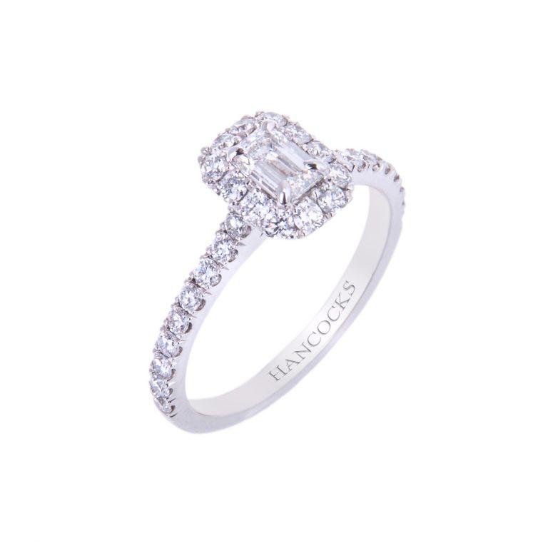certificated emerald cut diamond ring hancocks manchester HA 9