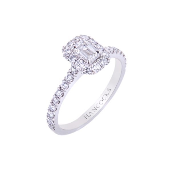 platinum certificated emerald cut diamond vintage cluster ring