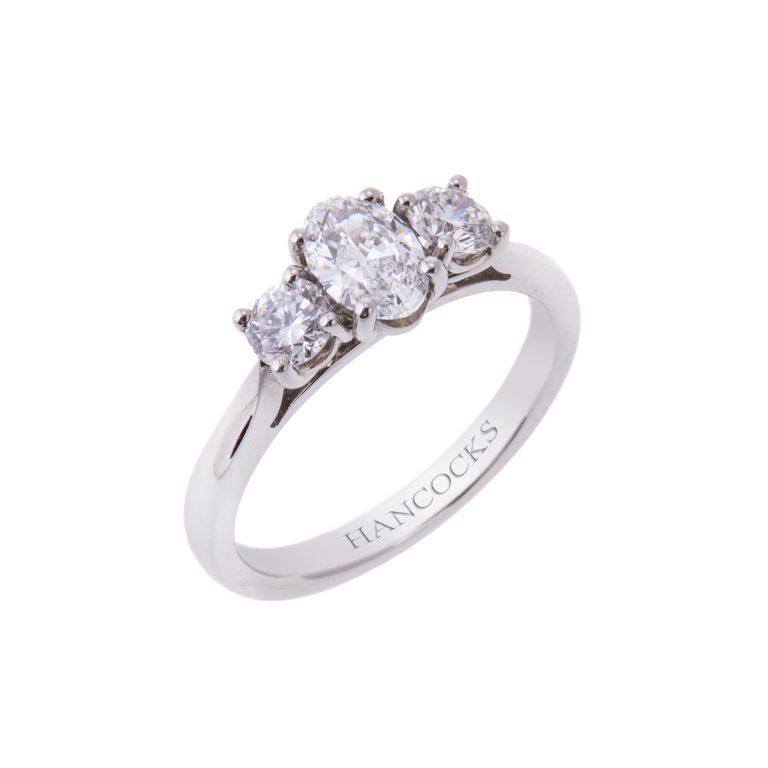 certificated oval diamond 3 stone ring in platinum HANCVIII 19