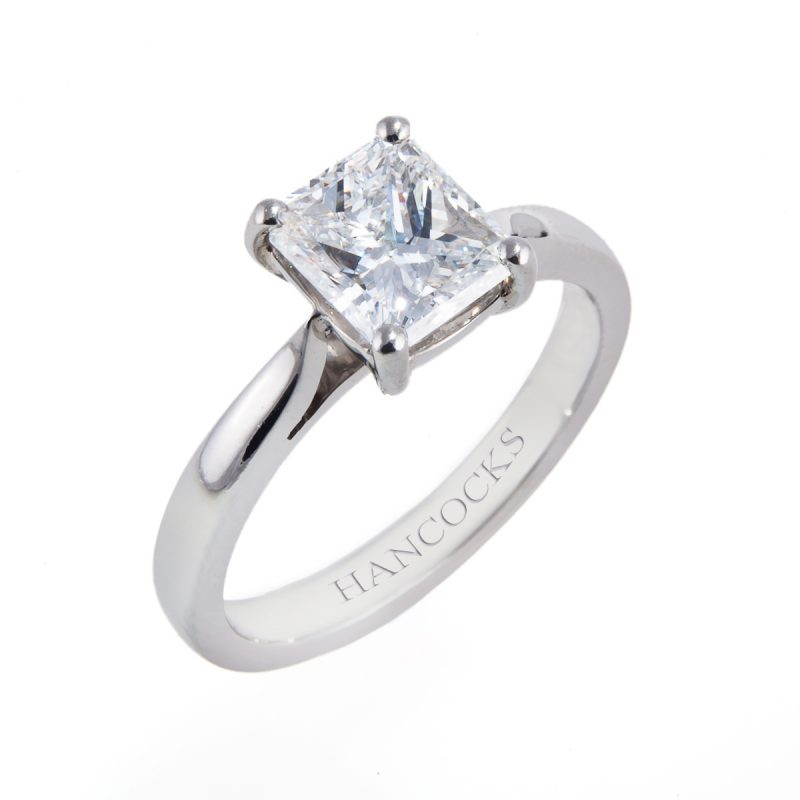 gia certificated princess cut diamond ring
