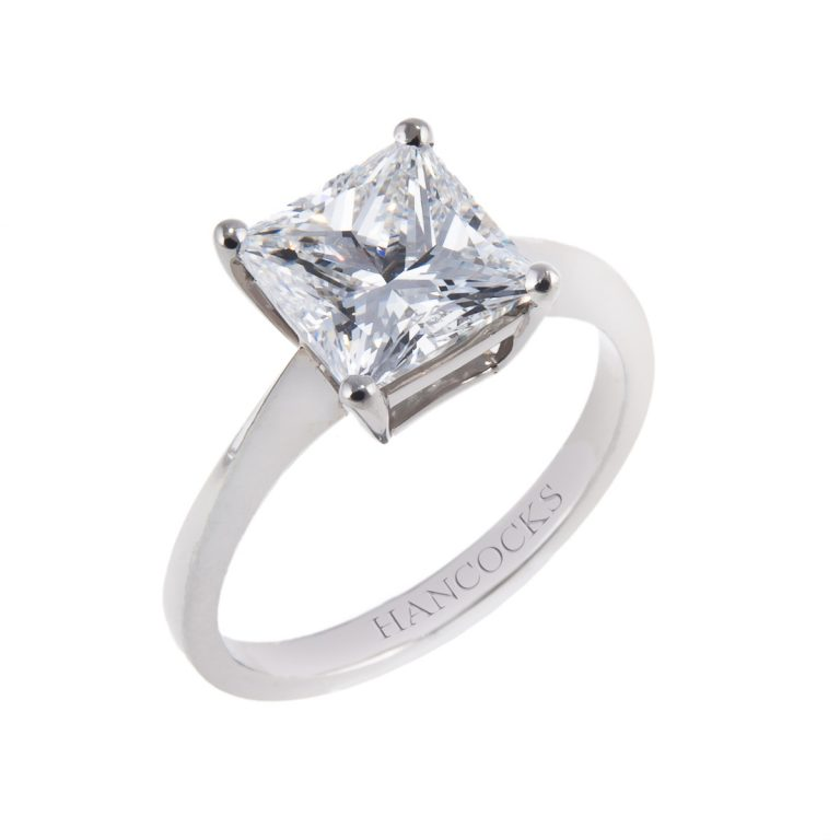 d colour princess cut diamond single stone ring in platinum claw setting
