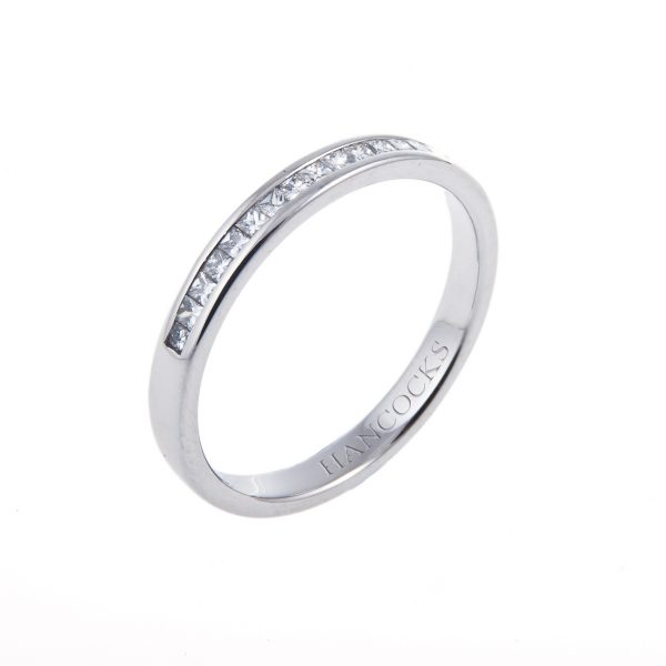 platinum princess cut diamond set ladies wedding ring