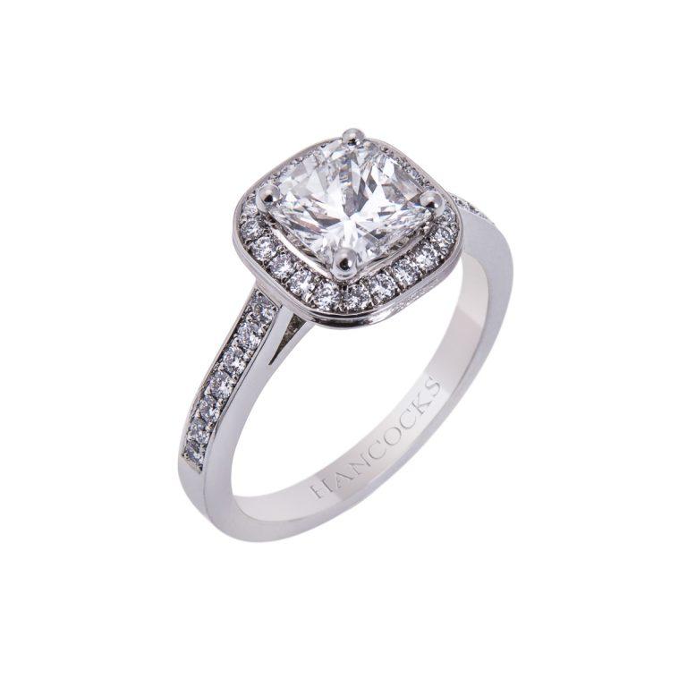 certificated diamond cluster ring in platinum