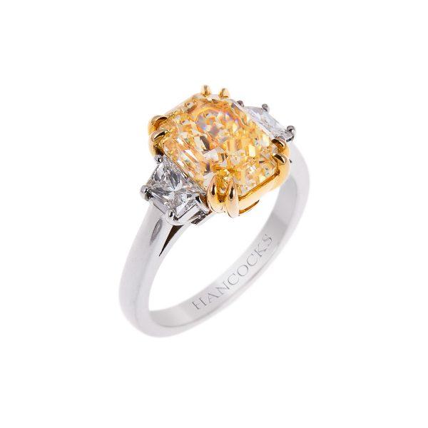 certificated cushion cut yellow diamond 3-stone ring