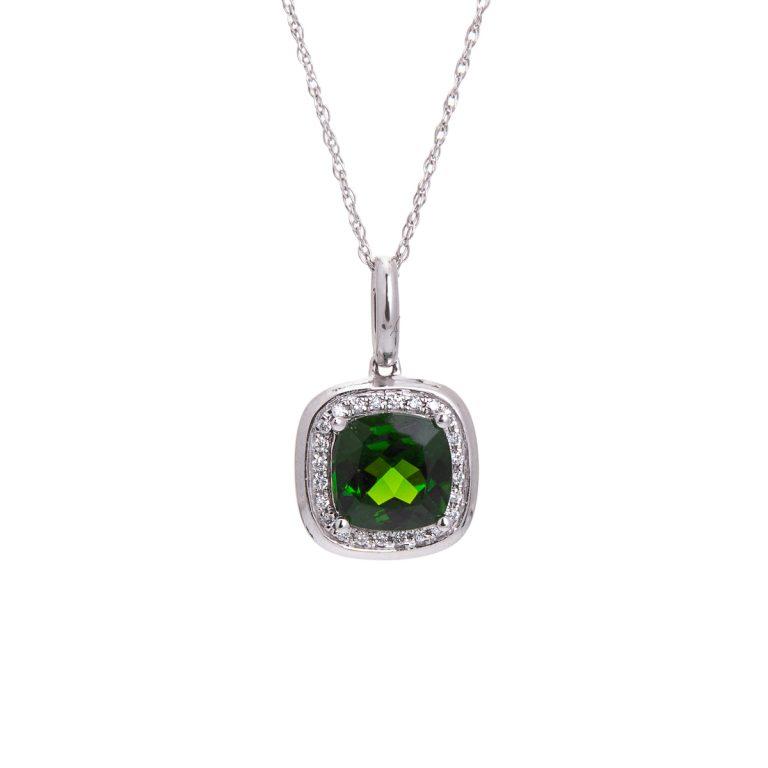 cushion cut russalite and diamond cluster pendant HC 100719 21