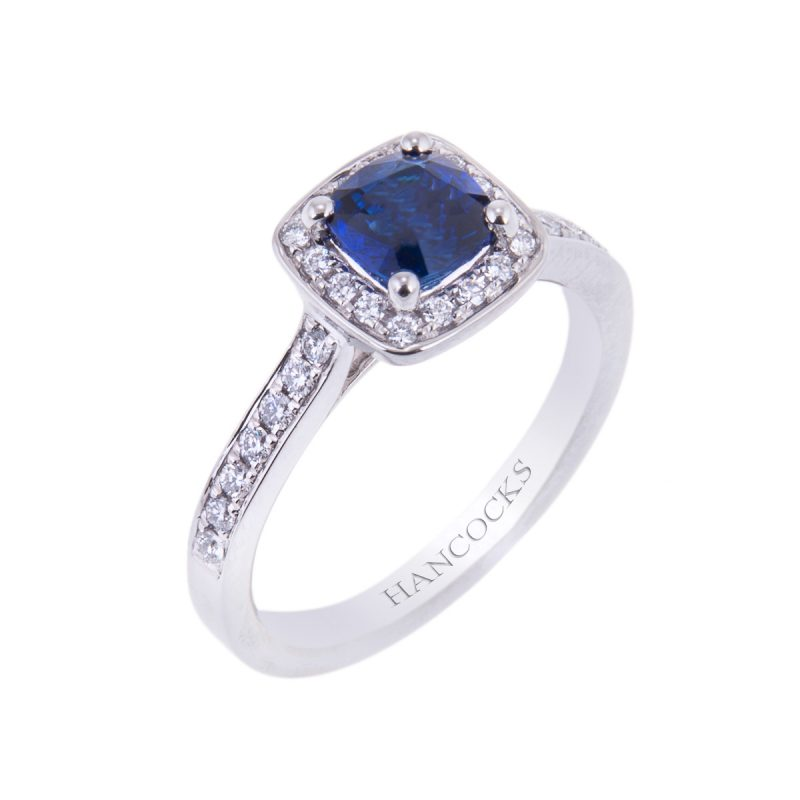 platinum sapphire and diamond vintage cluster engagement ring