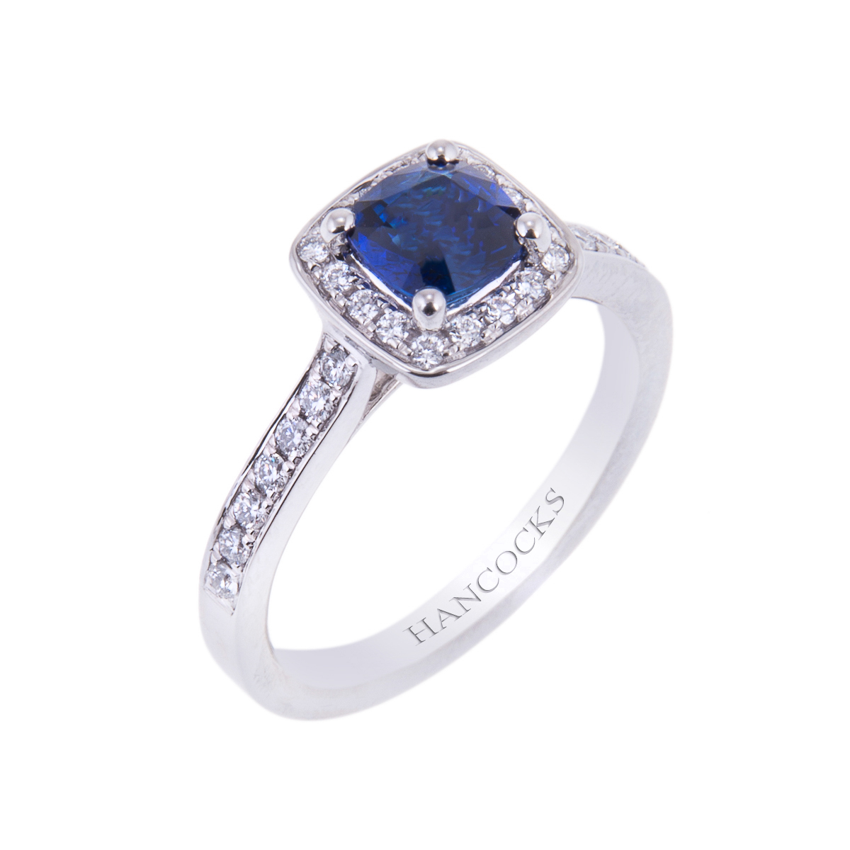 platinum sapphire and diamond vintage cluster engagement ring