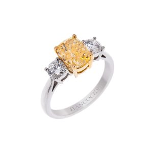 platinum certificated yellow diamond ring