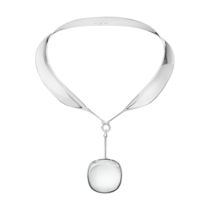 georg jensen dew drop silver neck collar and rock crystal drop detachable pendant