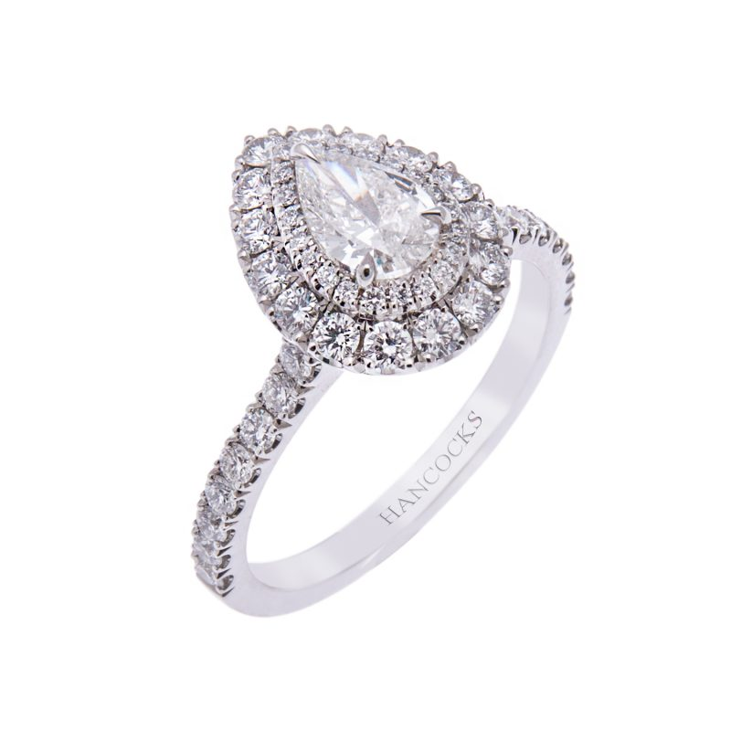 a1055e1c5a11c Platinum Double Halo Set Pear Cut Diamond Ring