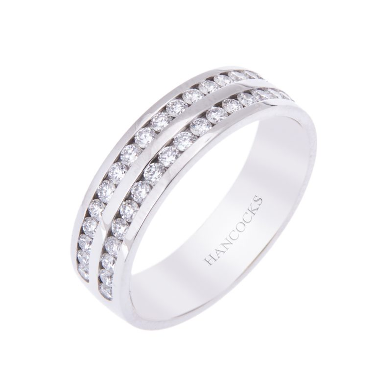 double row brilliant cut diamond band ring for her H1200 57