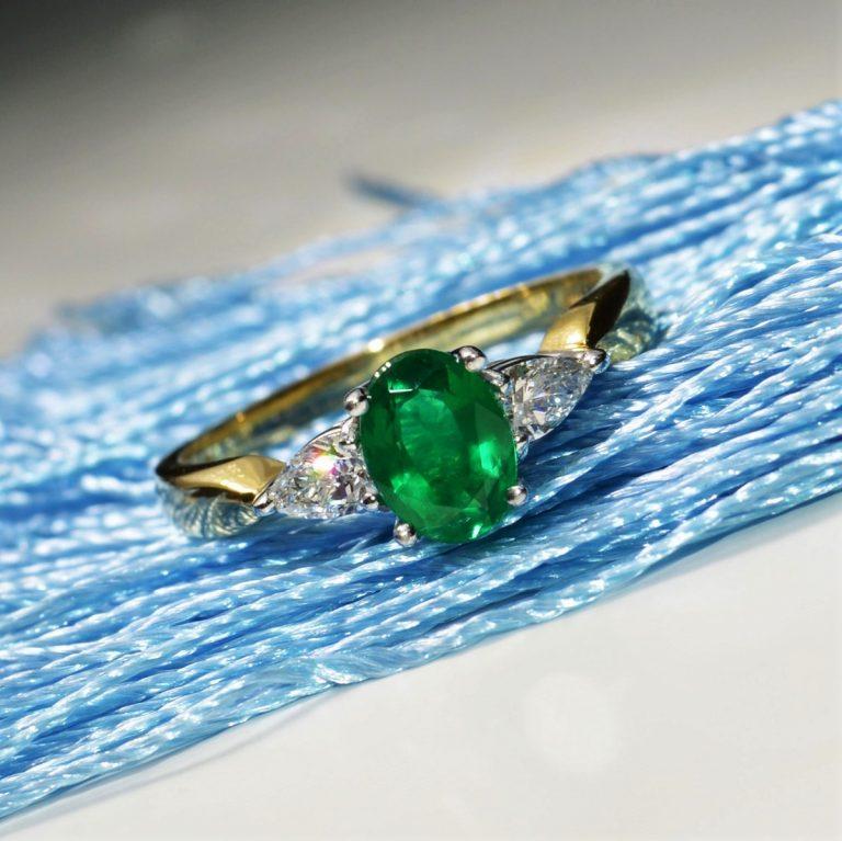 emerald and diamond 3 stone ring hancocks manchester