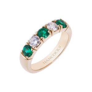 18ct yellow gold emerald and diamond 5 stone ring