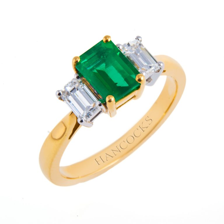 18ct yellow gold emerald and diamond engagement ring