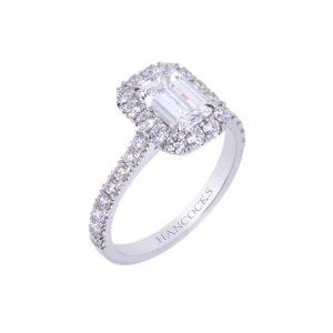 Emerald Cut Diamond Halo Set Ring In Platinum HA 10 800x800 1 300x300