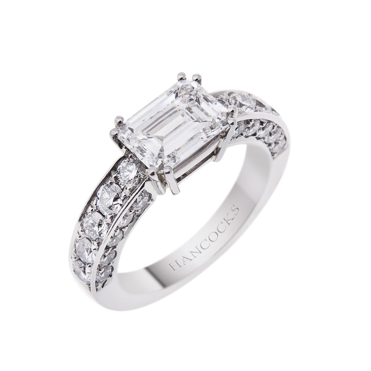certificated emerald cut diamond dress ring