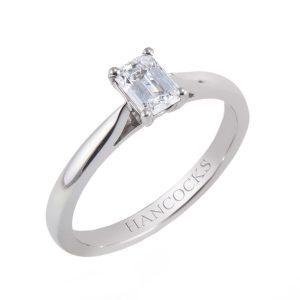 platinum emerald cut diamond single stone ring