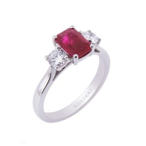 platinum claw set ruby and diamond 3-stone ring