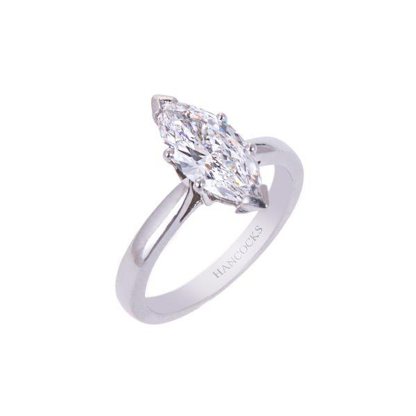platinum marquise cut diamond single stone ring