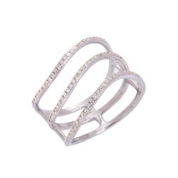 fine pave set diamond 3 strand wave ring HC 100719 88