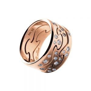 georg jensen fusion 18 carat rose gold three section diamond set ring