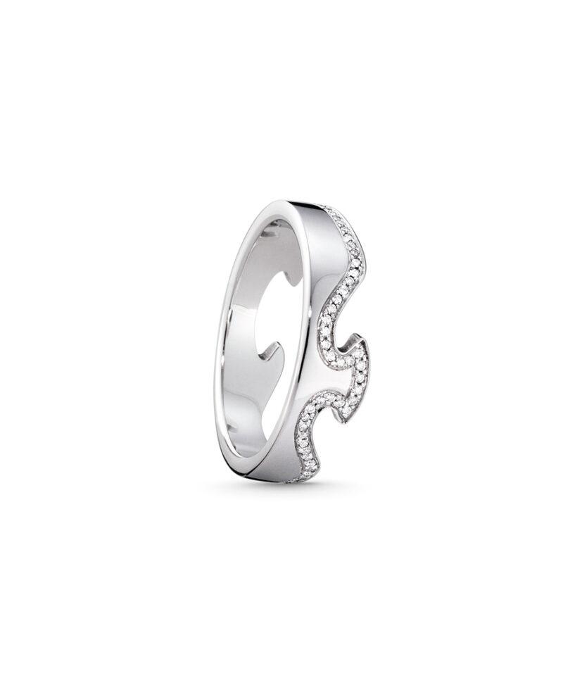 georg jensen 18 carat white gold fusion diamond line end section