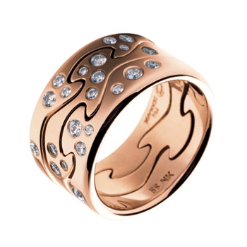 georg jensen fusion rose gold and diamond set triple ring