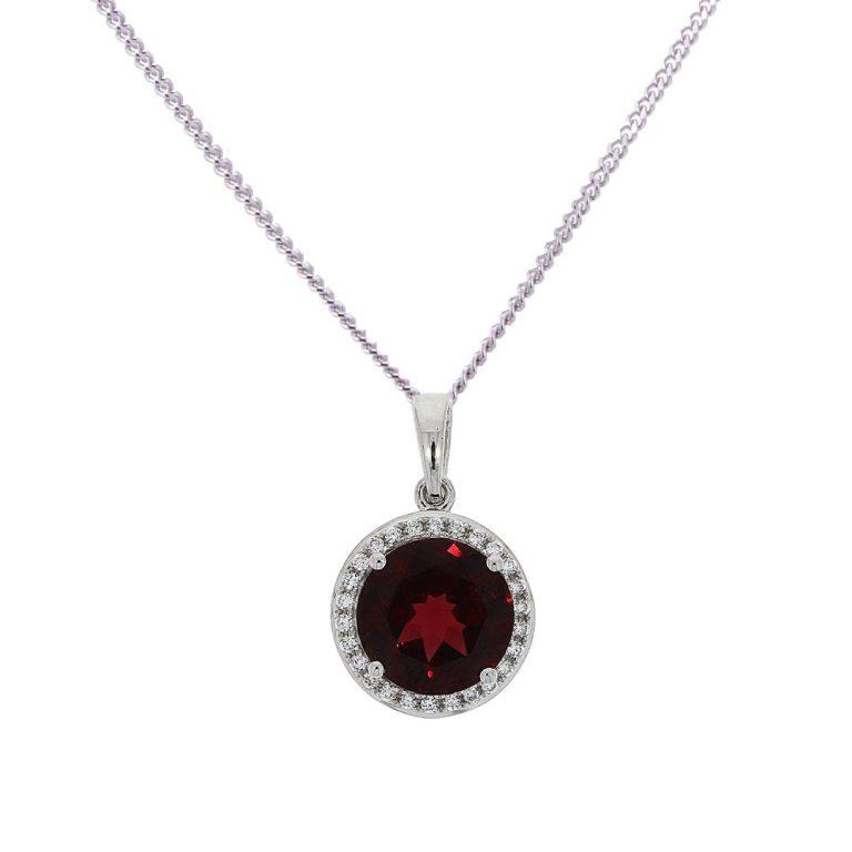 garnet and diamond halo set pendant hancocks jewellers manchester
