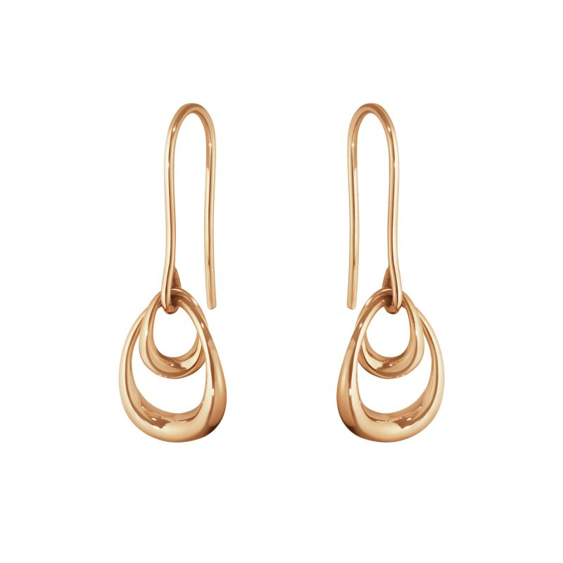georg jensen offspring 18 carat rose gold double drop earrings