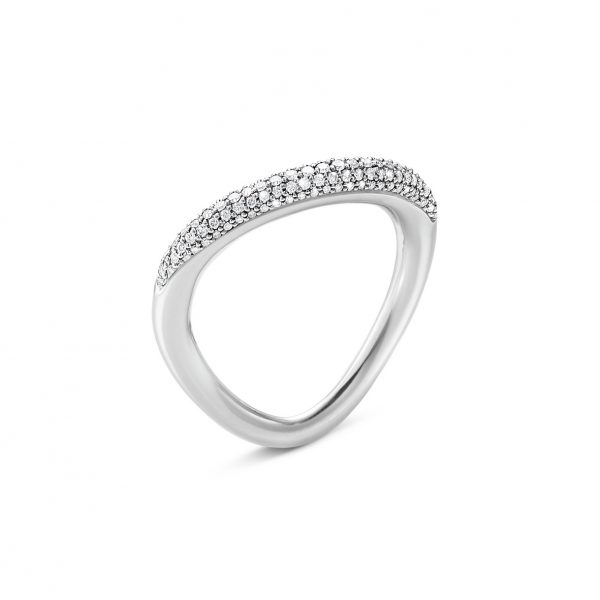 georg jensen offspring silver pave' diamond set ring