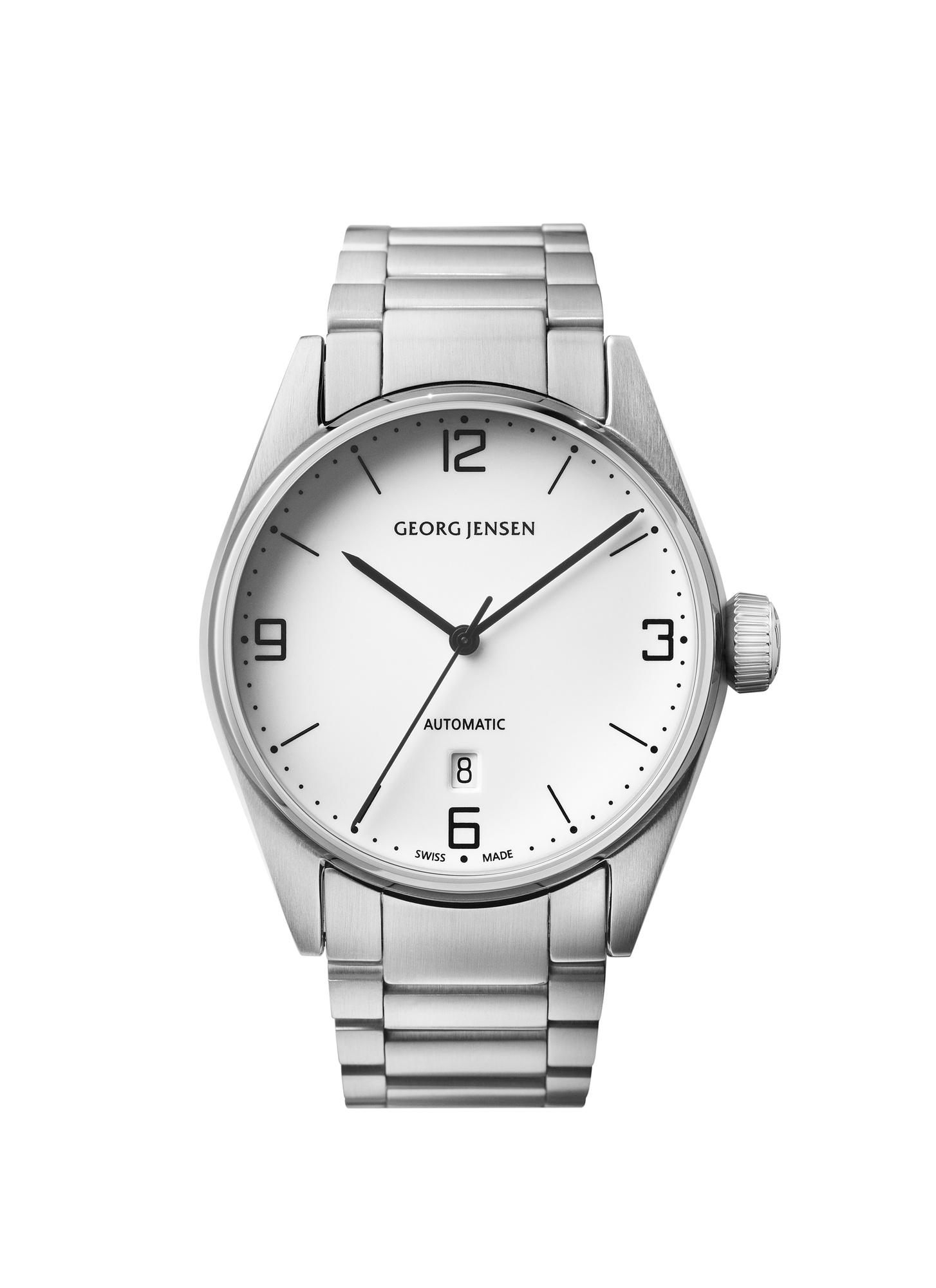 georg jensen delta classic all steel automatic steel bracelet watch