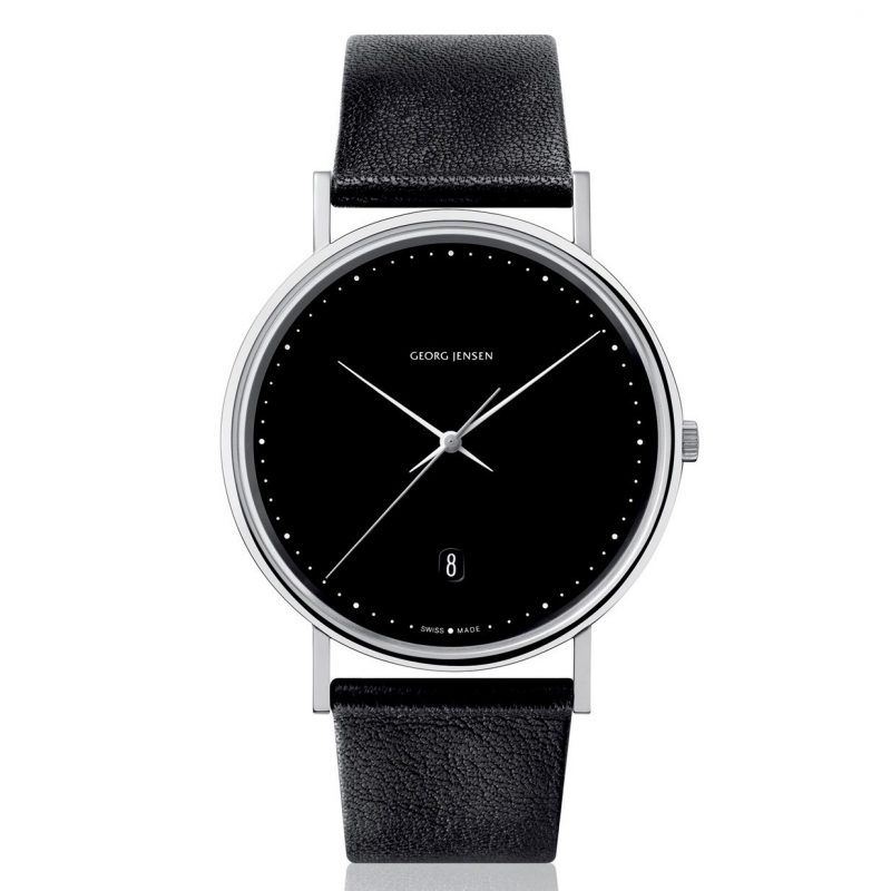 georg jensen koppel 318 black dial black strap watch